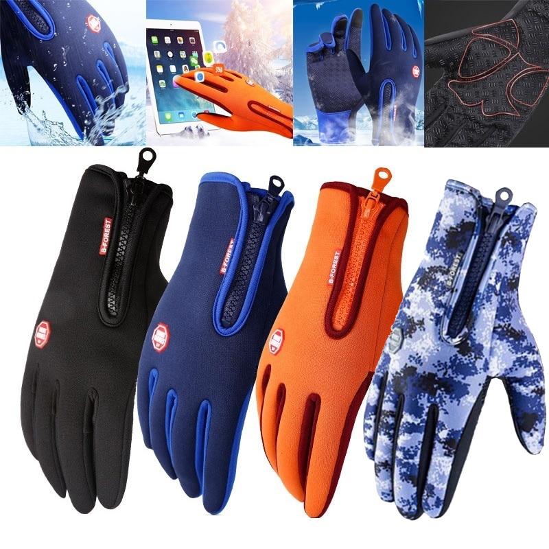 Winter Warm Ski Mens Gloves Women Cycling Touch Screen Waterproof Splash-proof Windproof Fashion Black Gloves Ladies Non-Slip(China)
