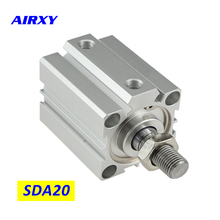 цена SDA cylinder compact pneumatic air 20mm bore 5-100mm stroke SDA20 pneumatic double acting cylinder air piston cylinder SDA20-25 онлайн в 2017 году