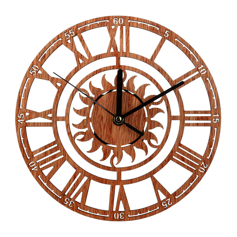2019 Silent Antique Wood Wall Clock 3D Retro Luxury Art Wooden Vintage Large Wall Clock On The Wall For Gift Home Decor JJ30