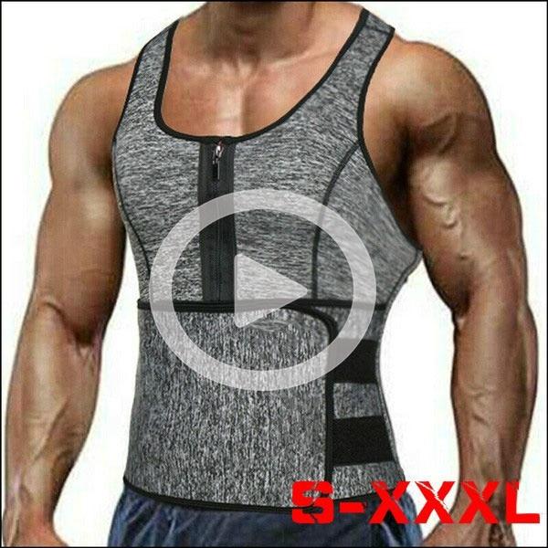 Men's Sweat Sauna Vest Waist Trainer Body Shaper Tank Top Compression Shirt,Compression Workout Fitness,Back Support Gym Suit