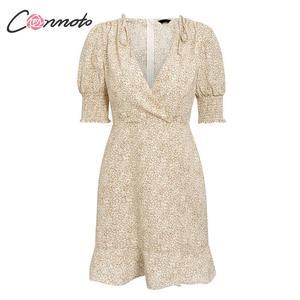 Image 5 - Conmoto Vintage Women Boho Print Short Holiday Dress Summer Fashion V Neck Drawstring High Waist Mini Dress Ladies Party Vestido