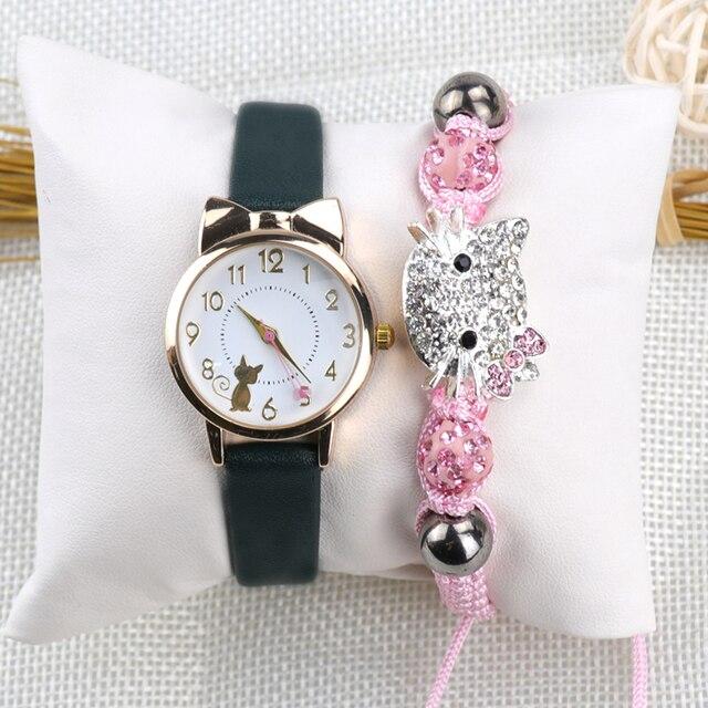 Moda feminina relógio de pulso pulseira conjunto crianças relógios pulseira de couro gato senhoras relógio presentes estudante relógios bonito dos desenhos animados relógio 3
