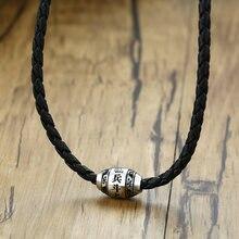 ZORCVENS mężczyźni naszyjnik 9 słów budda Mantra szczęśliwe koraliki amulet ze stali nierdzewnej wisiorek z czarną pleciona lina biżuteria męska