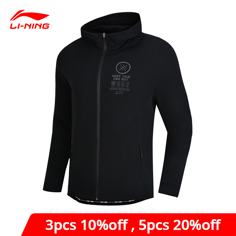 Li-Ning Men Wade Hoodie Sweater Regular Fit 66% Cotton 34% Polyester Zipper Closure Li Ning LiNing Sports Tops AWDN673 MWW1414