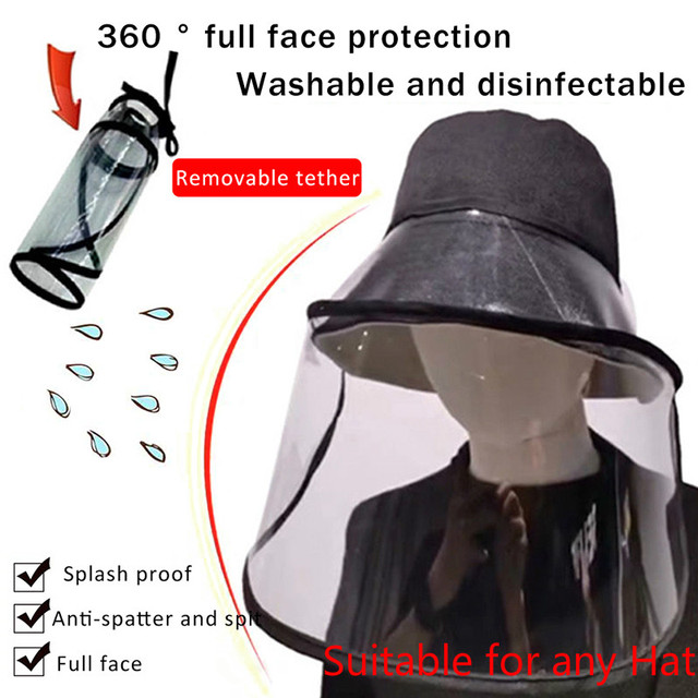 Protective Transparent Mask Anti-fog flu Coronaflu Saliva Face Masks Windproof Fisherman Hat  With Removable Protection Cap