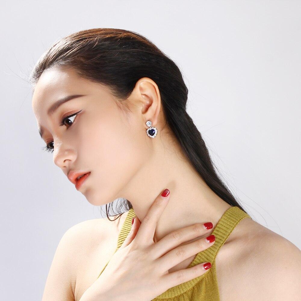 Heart Blue stone earrings (3)