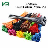 100/Lot 4*200mm breite 3,3mm Bunte Fabrik Standard Self-locking Kunststoff Nylon Kabelbinder, draht Kabelbinder 4x200