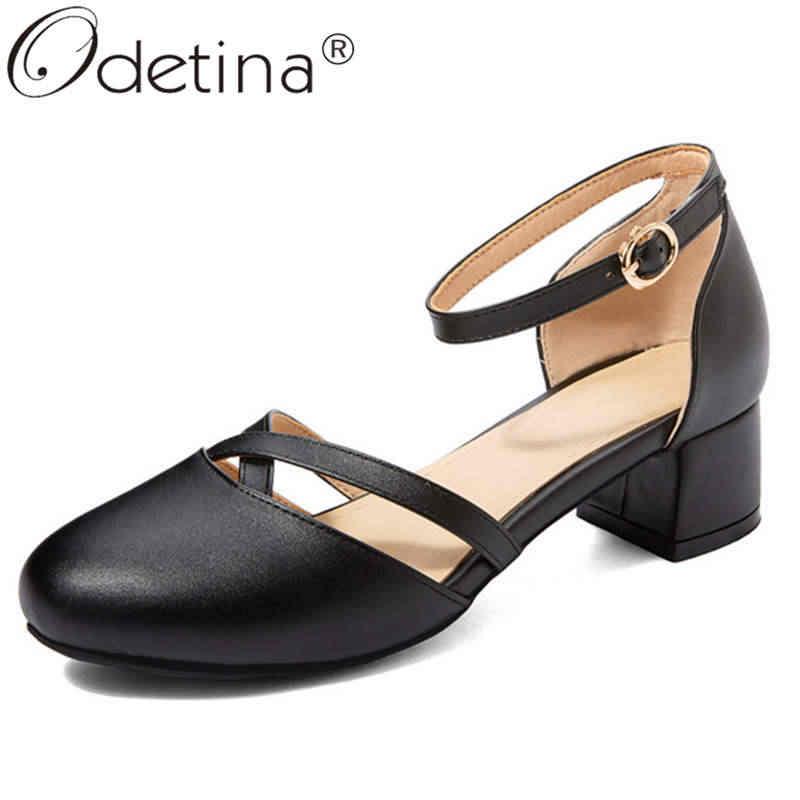 Odetina ผู้หญิงแฟชั่นแคบรอบรองเท้าสบายๆรองเท้าสุภาพสตรีกระชับสายคล้องคอข้อเท้า BLOCK กลาง Mary Janes รองเท้า