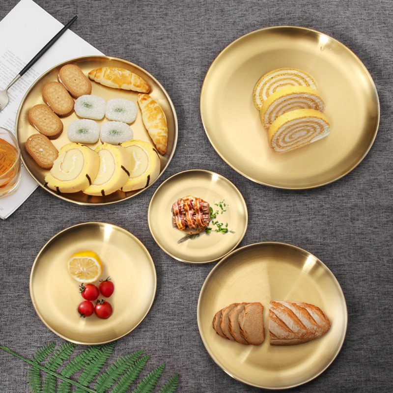 European Dinner Plates Gold Dining Plate Storage Tray Round Serving Dishes Plate Cake Tray Western Steak Tray Kitchen Plates
