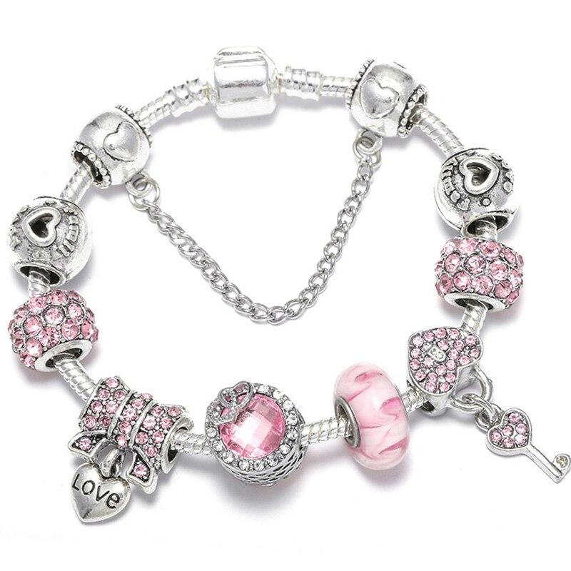 BAOPON Прямая поставка винтажные Подвески серебряного цвета браслеты для женщин DIY Кристальные бусины изящные браслеты для женщин Pulseira ювелирные изделия - Окраска металла: Type 28