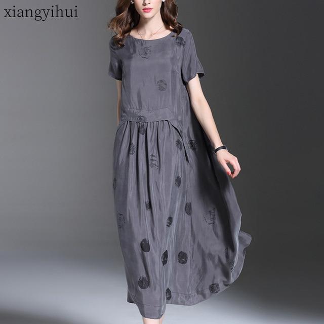 $ US $32.86 2019 Vintage Summer Short Sleeve Large Sewing Copper Silk Dress Women Grey Black Polka Dot Long Dress Elegant roupas feminina