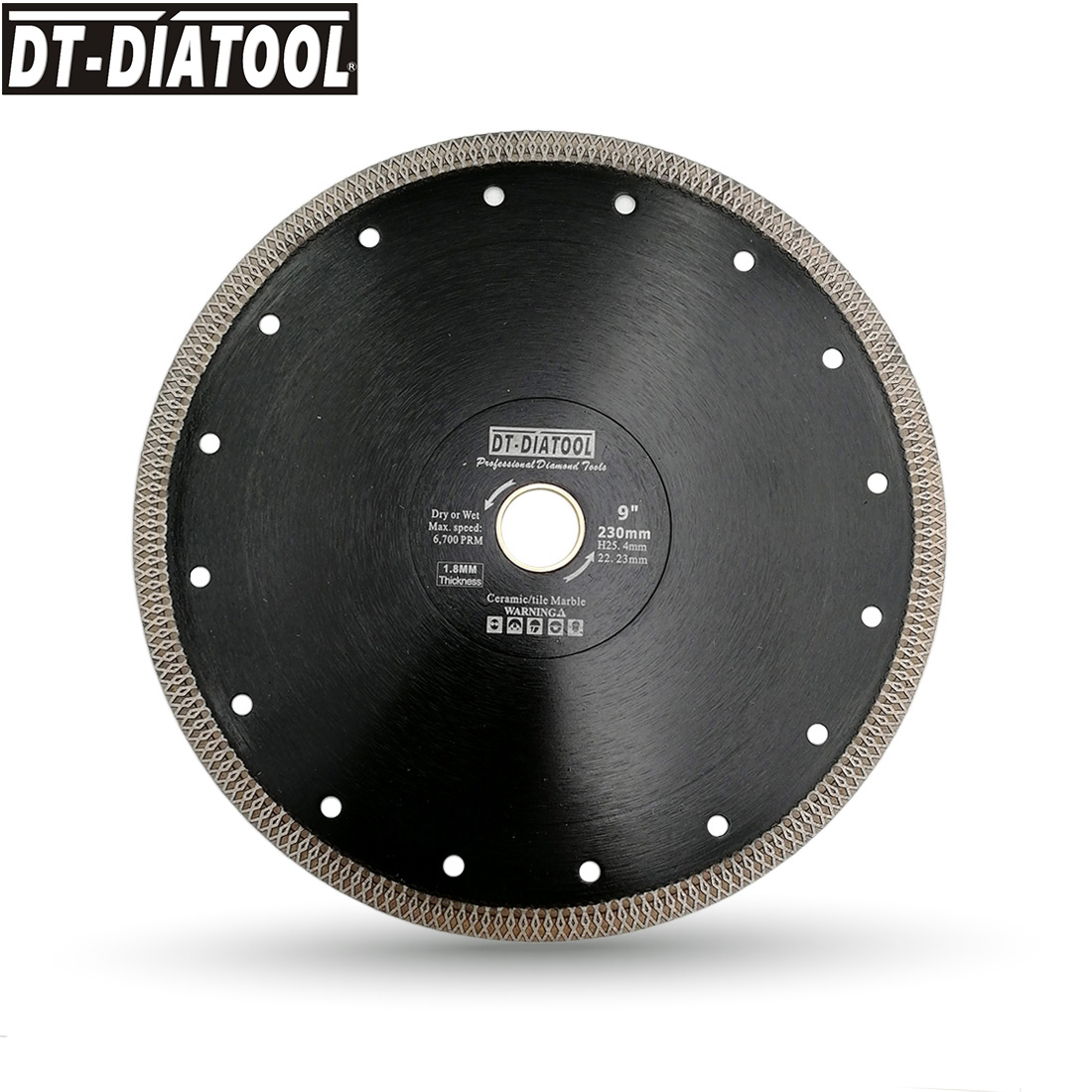 DT-DIATOOL 1pc Dia 230mm/9inch Hot-pressed Diamond Cutting Disc X Mesh Turbo Saw Blade For Cutting Porcelain Ceramic Tile Marble