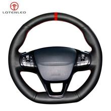 LQTENLEO غطاء عجلة قيادة من الجلد الصناعي ، أسود ، لفورد فوكس ST Line Fiesta ST Line 2018 2019 Focus Fiesta ST 2018 2020