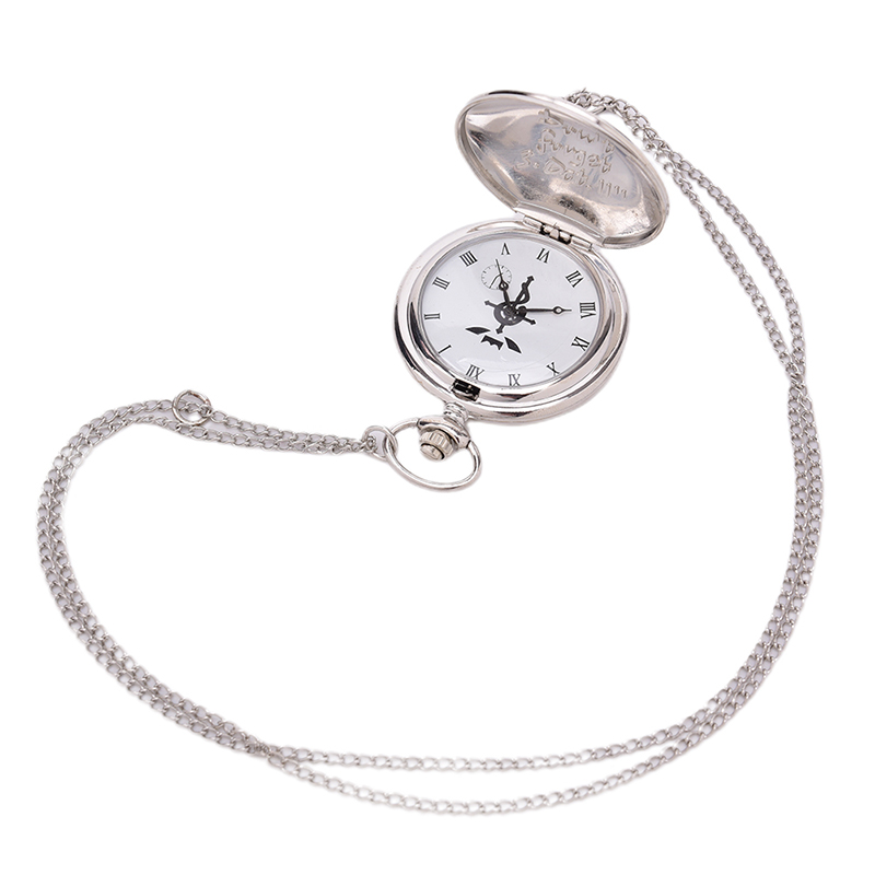 Men's Quartz Pocket Watches Japan Anime Necklace Children Boy Full Metal Alchemist Silver Watch Pendant