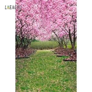 Image 5 - Laeacco весенний портрет Фотофон лес цветущие деревья дорога фотография фоны для новорожденных фотозона