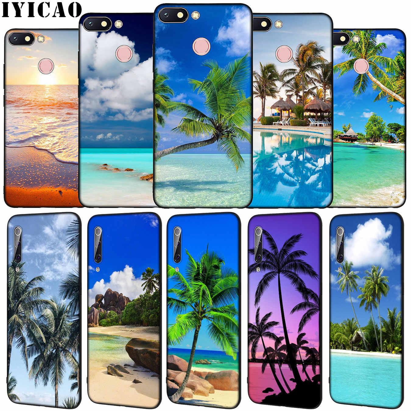 Tropicale alberi di palma Mare Spiaggia spruzzo Molle Del Silicone Cassa Del Telefono per Xiaomi Redmi Nota 8 8T 8A 7 7A 6 6A 5 5A ANDARE S2 K30 K20 Pro