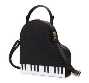 Image 3 - אופנה פסנתר סגנון גבירותיי תיבת צורת מסיבת תיק כתף תיק ארנקי עור מפוצל נקבה Crossbody תיק לנשים מעצב תיק
