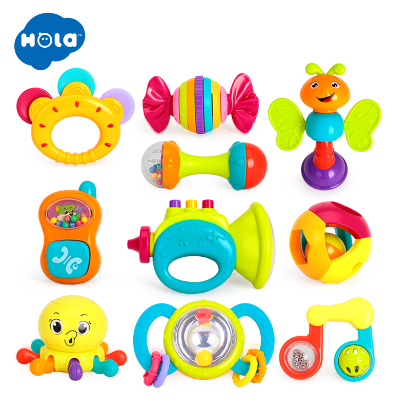 10PCS/Lot Baby Rattles Toys Newborn Hand Bells Baby Toys 0-12 Months Teething Safe Development Infant Early Educational Toys