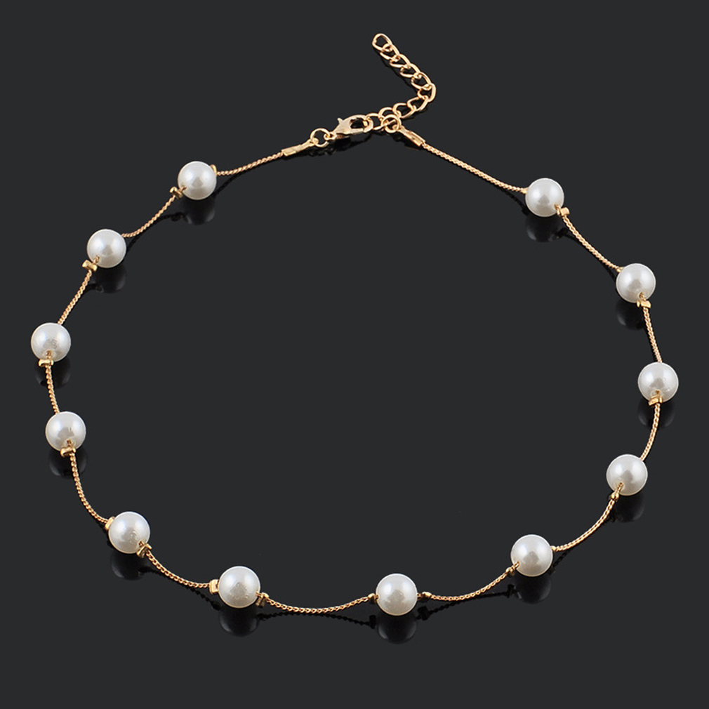 Popular Beautiful Simulated 12 Pearl Beads Golden/ Silver Plating Retro Necklace Fashion Choker Necklaces For Women Girls