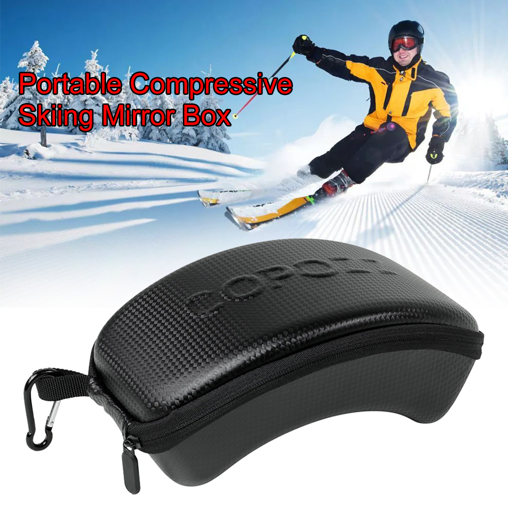 Carrying Zipper Ski Glasses Case With Hook Sports Portable Protection Hard Shockproof Solid Snowboard Lightweight PU Leather