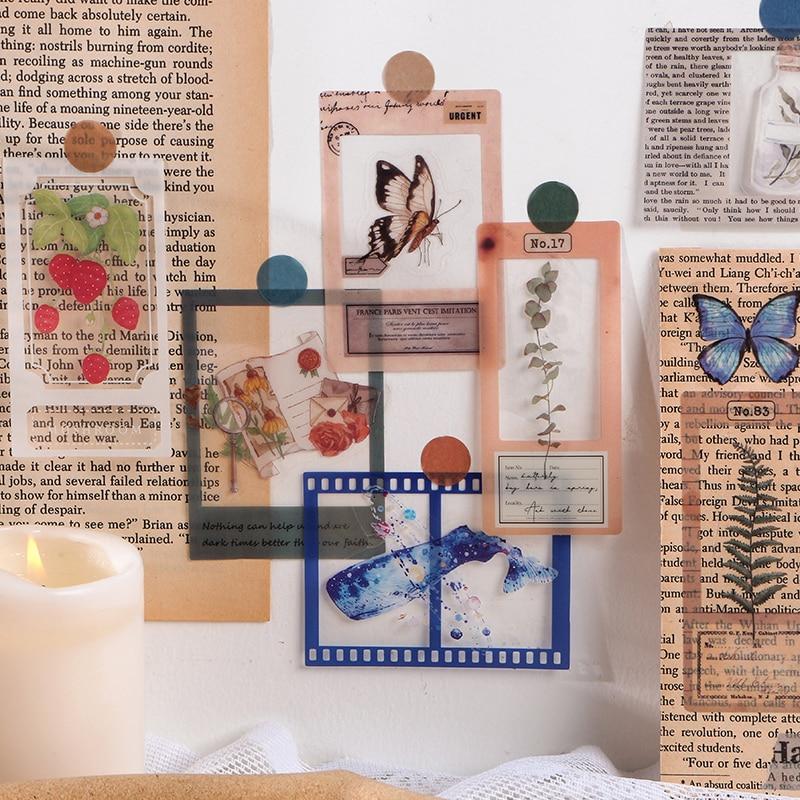 30pcs/bag Vintage Rose whale Film frame PET sticker package DIY diary Journal decoration sticker album scrapbooking