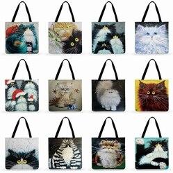 Al aire libre Casual Tote colorido gato pintura impresa bolsa de mano para las mujeres plegable bolsa de compras Lino Faric bolsa de hombro de las señoras