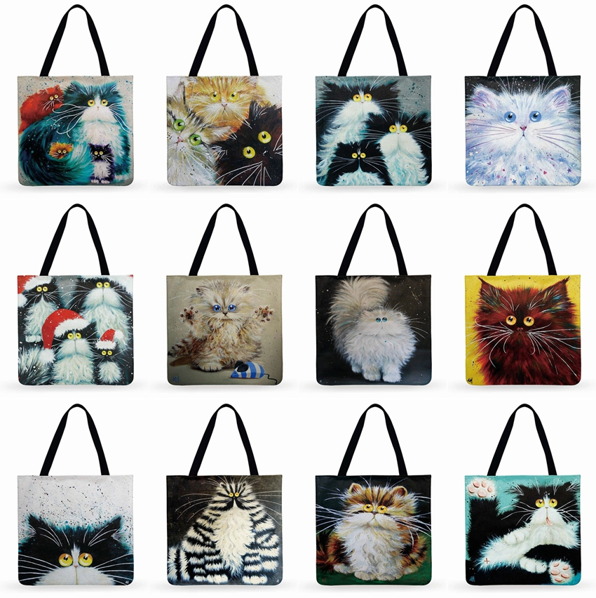 Outdoor Casual Tote Colorful Cat Painting Printed Tote Bag For Women Foldable Shopping Bag Linen Faric Bag Ladies Shoulder Bag