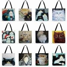 Bolsa de sacola colorida com pintura de gato, sacola de sacola para mulheres, dobrável, bolsa de linho
