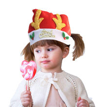 2019 New Christmas Winter Warm Hat Party For Kids Elk Santa Hat Red And White Hat For Merry Christmas Decoration(China)