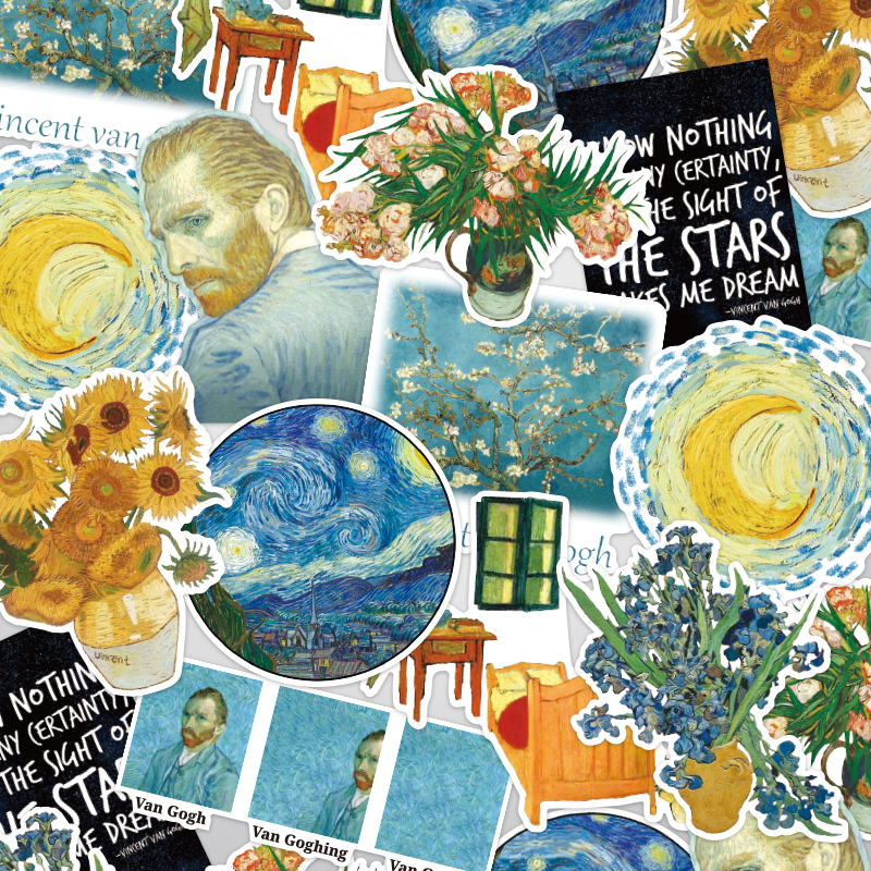 16pcs/11PCS Van Gogh Painting Vintage Stickers Crafts Scrapbooking Stickers Book Student Label Decorative Sticker DIY Stationery