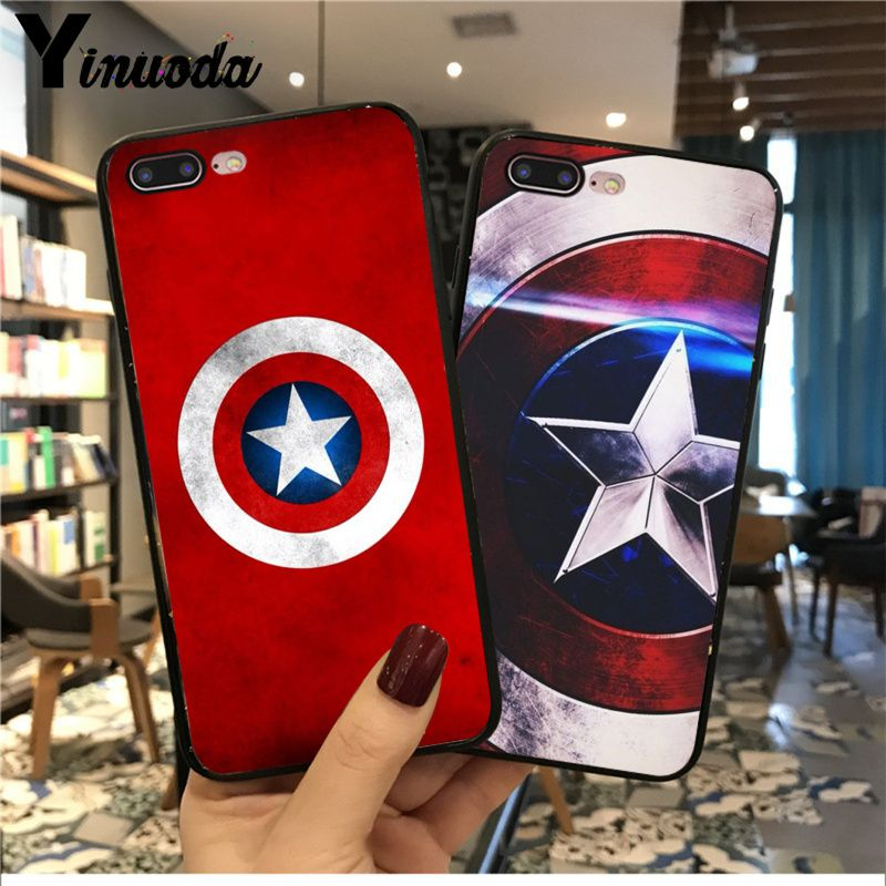 Yinuoda Marvel movie hero captain America TPU Soft Black Phone Case for iPhone 8 7 6 6S Plus X XS MAX 5 5S SE XR 11pro max image