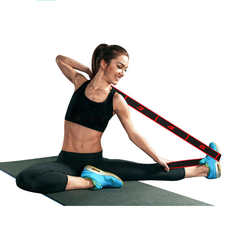 Yoga Pull Belt Strap Latin Dance Stretching Band Loop Yoga Pilates GYM Fitness Exercise Polyester Latex Elastic Resistance Bands
