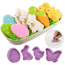 Easter Cookie Mold Plastic Animal Biscuit Cutter Cartoon Rabbit Molds Baking Tools DIY Kids Birthday Party Decoration Supplies