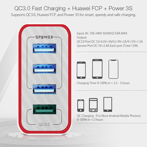 Image 3 - BlitzWolf 4 Ports QC3.0 Quick Charge EU Plug LED Light 30W 2.4A USB Travel Wall Charger Power3S For iPhone Android For N Swich