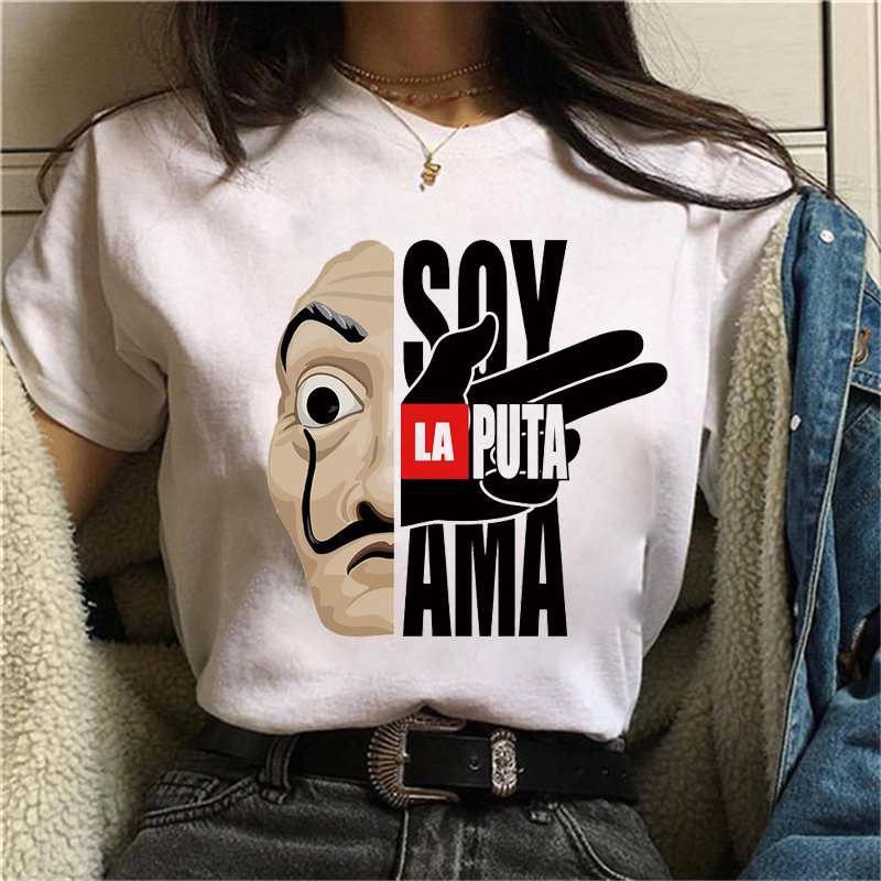 Ladies Summer Casual Short Sleeves Maycaur The House Of Paper T Shirt  Money Heist Women La Casa De Papel T-shirt Funny