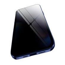 Capa de vidro temperado privacidade para iphone 12 pro max 7 8 plus x xs xr xs max iphone 11 pro max metal magnético anti-spy tampas de vidro