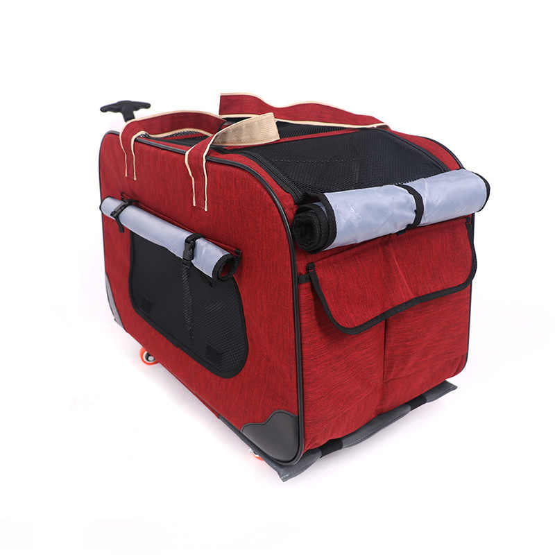 A Four-wheel Foldable Pet Stroller Portable Breathable Pet Trolley Waterproof 900D Oxford Cloth Carrier Bag