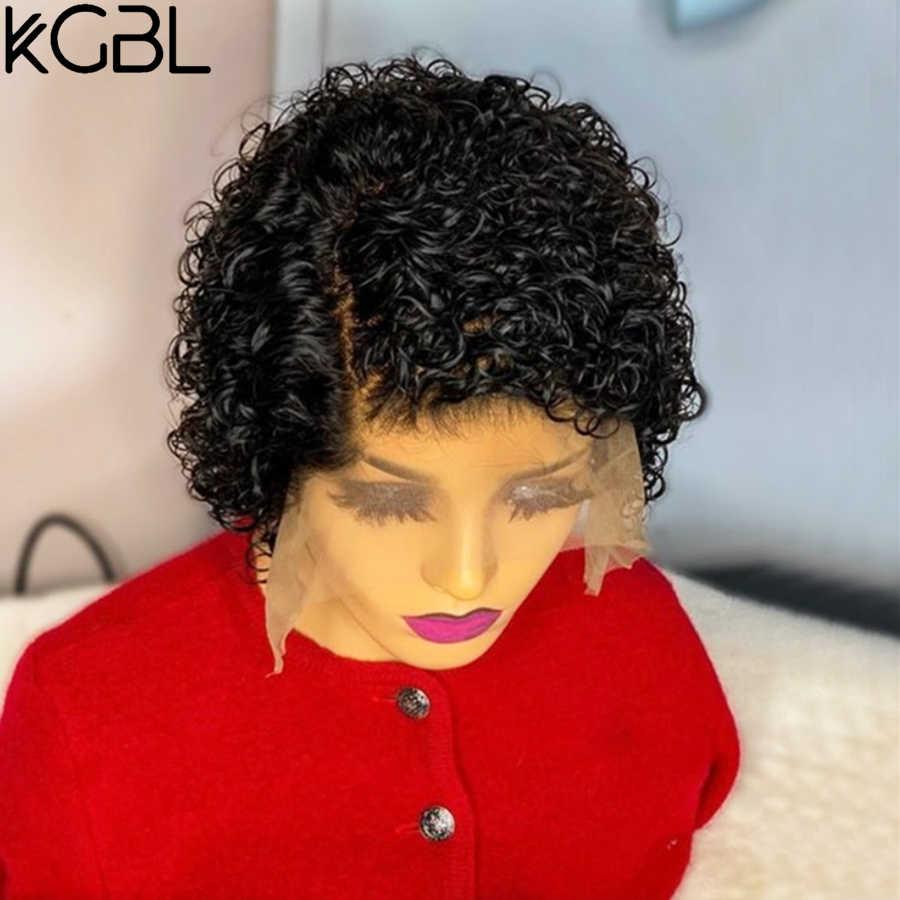 Pelucas de cabello humano KGBL 13*4 con rizos de Pixie, pelucas de cabello humano 150% de densidad 180% con cabello de bebé, proporción media brasileña no Remy para mujeres