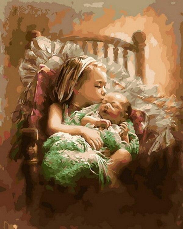 Картина маслом Unframe diy, масляная живопись по номерам, рисунок, краска по номерам для домашнего декора, 4050 см девочка с ребенком|Рисование и каллиграфия|   | АлиЭкспресс