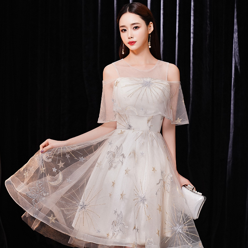 Sexy Cheongsam Embroidery Star Sequins Evening Dress Novelty Patchwork Mesh Women Qipao Short Sleeve Formal Party Gowns in Cheongsams from Novelty Special Use