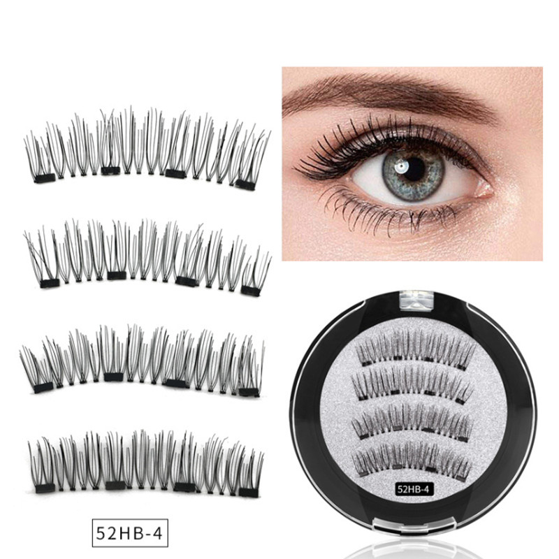 New <font><b>2</b></font> <font><b>Pair</b></font> 4 Magnetic False <font><b>Eyelashes</b></font> Natural With 3D/6D Magnets Handmade Magnetic Lashes Natural Mink <font><b>Eyelash</b></font> Magnet Lash image