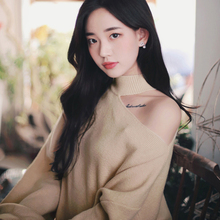 One Shoulder Sweater Loose Fit Plush Pullover Sweater