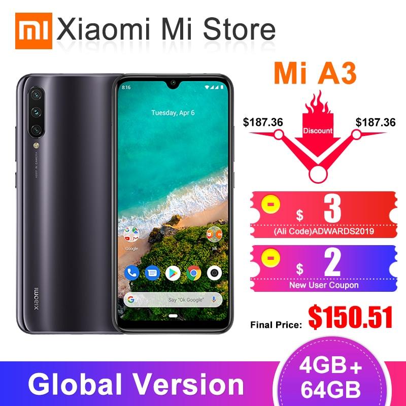 """In Stock Global Version Xiaomi Mi A3 MiA3 4GB 64GB Mobile Phone Snapdragon 665 Octa Core 6.088"""" 48MP + 32MP AI Camera 4030mAh"""