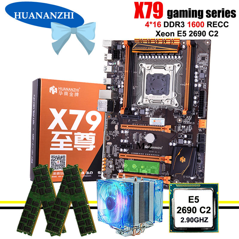Amazing HUANANZHI Deluxe X79 LGA2011 Gaming Motherboard With M.2 NVMe CPU Intel Xeon E5 2690 C2 2.9GHz With Cooler RAM 64G RECC