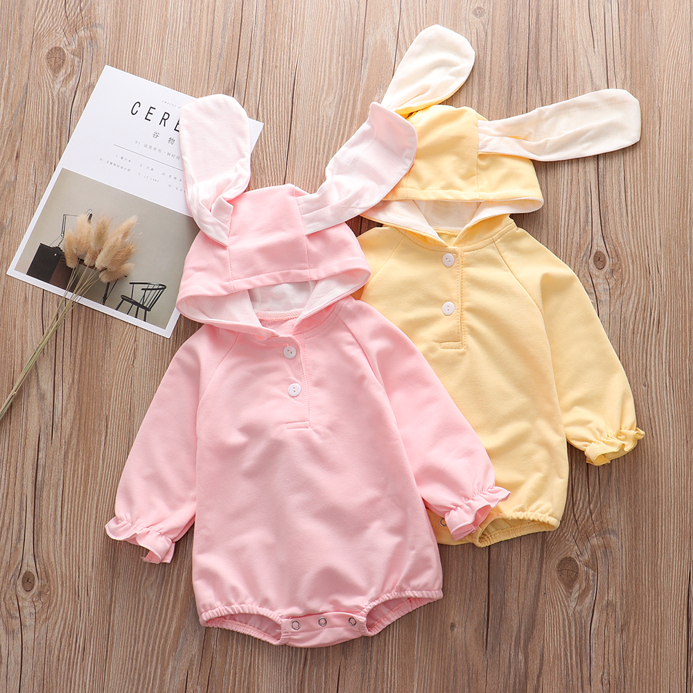 Newborn Baby Boy Girl Rompers Infant Clothing Cotton Long Sleeve Hooded Jumpsuit Baby Pajamas