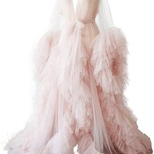 Ladies Dressing Gown Perspektive Sheer Long Robe Fluffy Dessous Fotografie