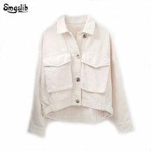 2019 winter WHITE jacket women england vintage oversize loose boyfriend short casaco feminino jaqueta feminina