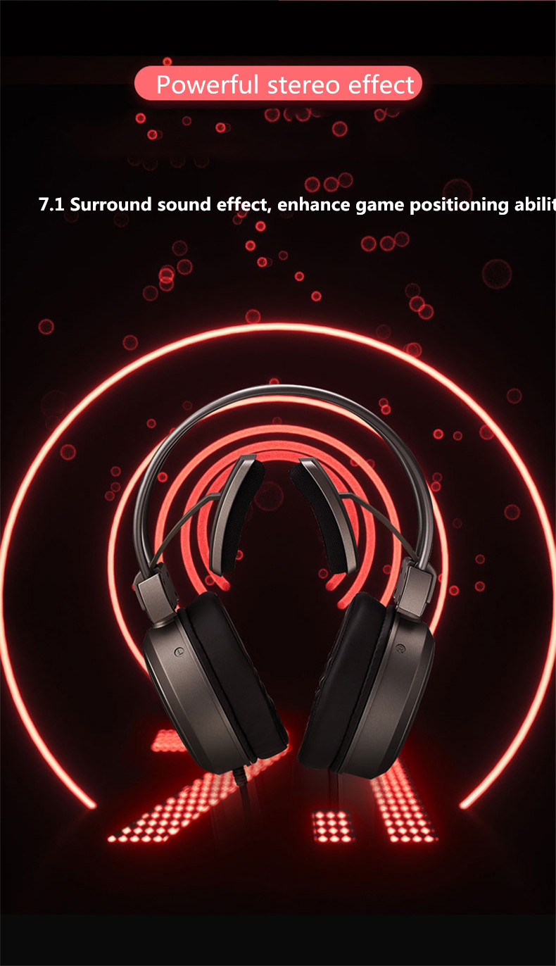 Novo vh610 head-mounted wired gaming headset virtual