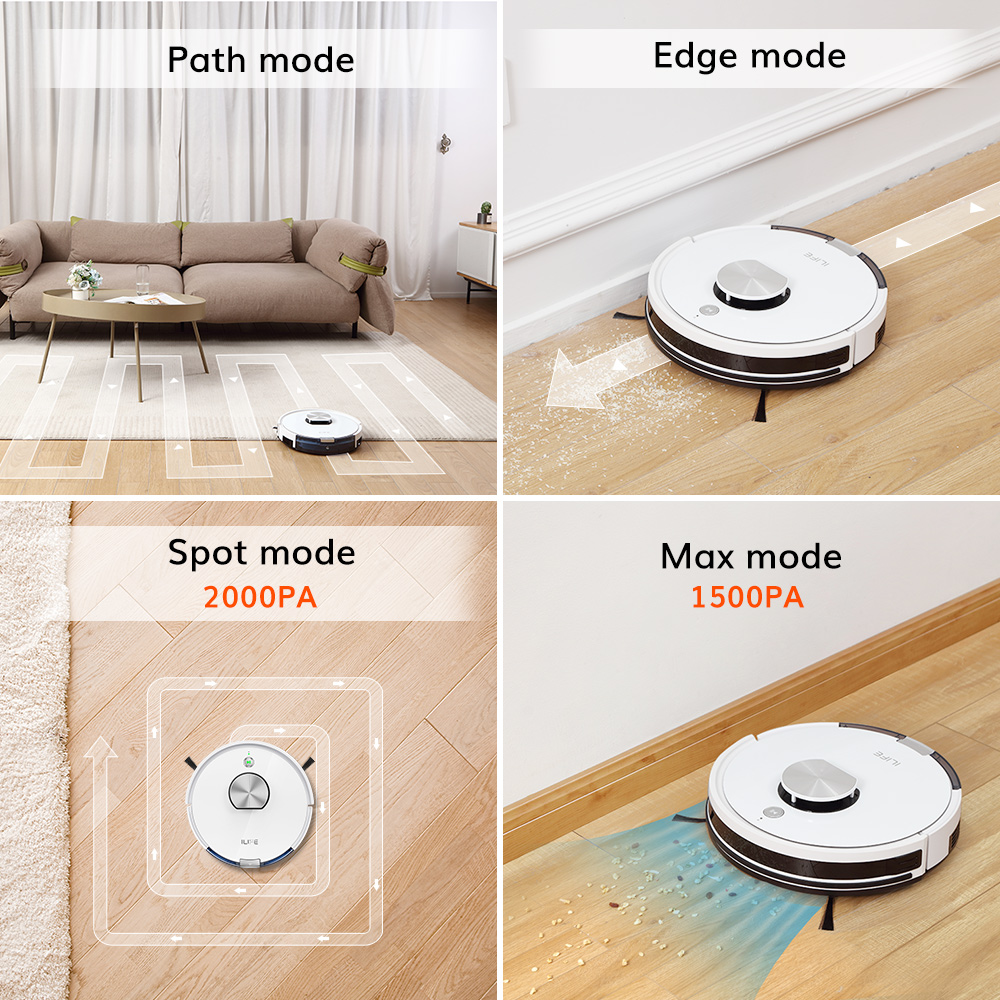 ILIFE L100 robot vacuum cleaner, LDS laser navigation, carpet pressurization, Smart Planned WIFI App Remote Control,Draw Clean 6
