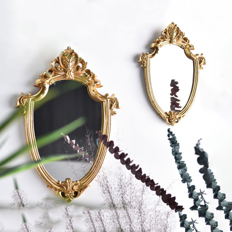 Vintage French Palace Style Gold Hanging Mirror Wall Decoration Makeup Mirror for Home Decor